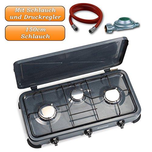 3Flammen Gaskocher mit Zündsicherung und Piezozündung, Gaskocher mit Regler und 150cm Anschlussschlauch
