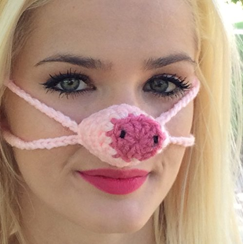 Pink Pig Nose Warmer by Aunt Marty's Original Nose (Handmade Pig Mask)