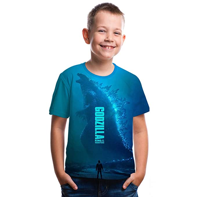 Godzilla Boys Girls Kids 3D Printing Short Sleeve T-shirt Summer Party Clothing