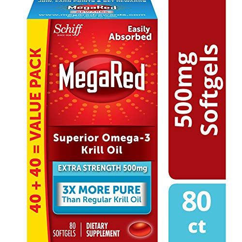 MegaRed 500mg Extra Strength Omega-3 Krill Oil, 80 softgels