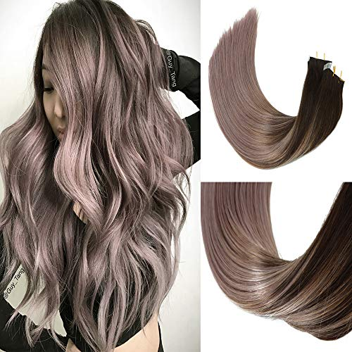 2019 Fashion Hair Color HUAYI Brown To Milky Lavender/Pink Mauve Ombre Tape In Hair Extensions Human Hair 50g 20Pcs Soft Thick End Tangle Free Durable Silky Straight Balayage Hair Extensions (2TG#14)
