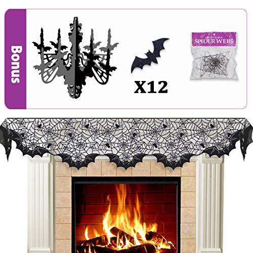 Pawliss Halloween Decorations Indoor, Black Lace Spider Web Fireplace Mantel Scarf Cover Party Decor, Glitter Chandelier and Bat Wall Decals, Stretch Cobwebs, Set of 15