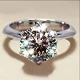 Womens Fashion Jewelry 925 Silver Round Cut White Sapphire Wedding Band Ring (7)