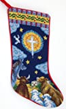 Nativity Christmas Stocking,animals, Wool Needlepoint
