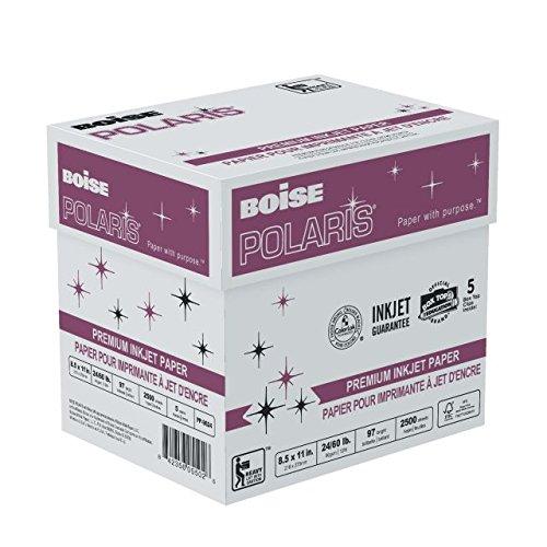 BOISE POLARIS PREMIUM INKJET PAPER, 8 1/2'' x 11'', Letter, 97 Bright White, 24 lb., 2500 Sheets/Carton, 64 Cartons/Pallet