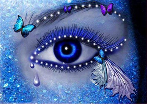 Franterd Beautiful Blue Eye &Eyelash - Diy Diamond Painting Kit by Number - 5D Crystal Embroidery Rhinestone Pasted Cross Stitch on Oil Painting Canvas Art Craft Home Decor