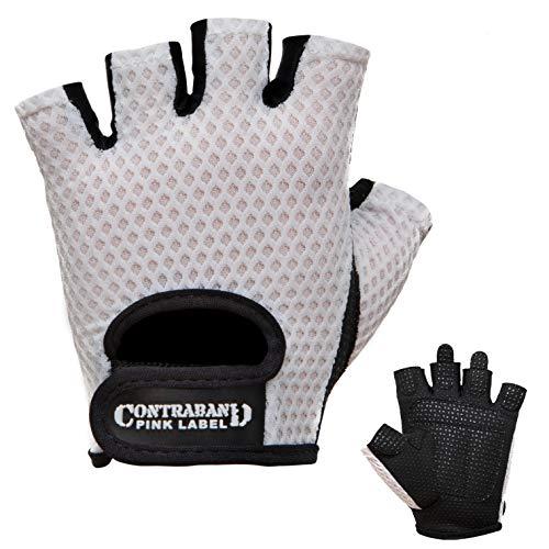 Contraband Pink Label 5307 Womens Design Series Diamond Mesh Lifting Gloves (Pair) - Lightweight Vegan Medium Padded Microfiber Amara Leather w/Griplock Silicone (White, X-Small)