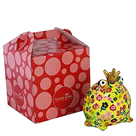 regalo esclusivo con scatola da regalo gratis verde con foglie di palma amorevolmente fatto a mano POMME PIDOU Salvadanaio King Frog Freddy Rana salvadanaio originale in ceramica