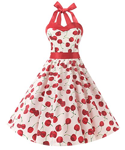 DRESSTELLS 50s Retro Halter Rockabilly Polka Dots Audrey Dress Cocktail Dress Cherry White XS