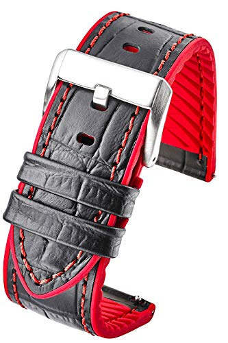 Watch Genuine Alligator - Genuine Alligator Grain Leather Watch Band with Silicone Waterproof Lining and Quick Release Steel Spring Bars - Black/red - 22mm