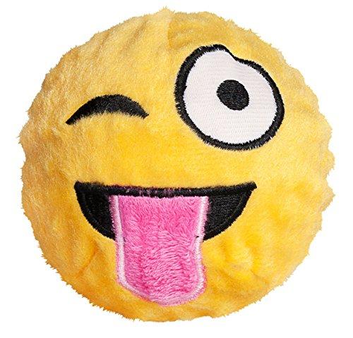 Image of fabdog Tongue Out Winking Emoji faball Squeaky Dog Toy (Medium)