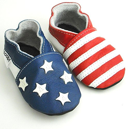 Soft Sole Leather Baby Shoes Crib Shoes First Walker Shoes Toddler Shoes (18-24 Months, Stars and Stripes)
