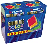 Fujifilm Media 25367101 Empty Color Slim Jewel Cases - 100 Pack