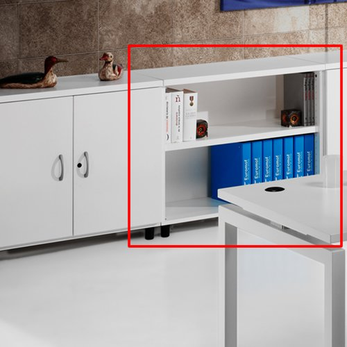 Armario de Oficina, Bajo, Diafano, 92x42x78 cm. Color Blanco. Euromof