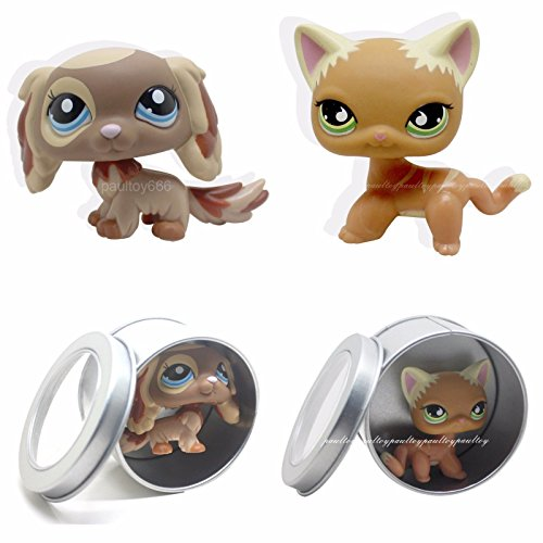 [tongrou 2pcs Littlest Pet Shop Brown Puppy King Charles Spaniel Dog & cat #790 #2570 LPS] (Pirate Cat Costume Video)