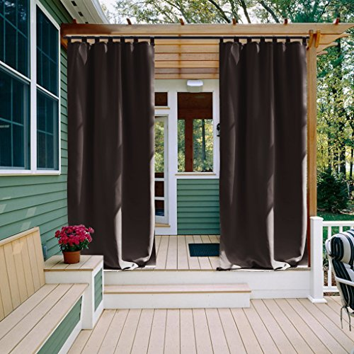 Patio Curtain Outdoor Drape Panel - NICETOWN Easy Care Tab Top Blackout Mildew Resistant Curtain / Drape for Indoor and Outdoor (1 Pack,52 Inch Wide by 84 Inch Long, Toffee Brown) (Window Panel Outdoor Curtain)