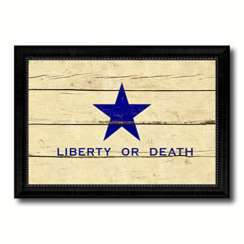 Liberty or Death Flag Goliad Texas Battle Independence Military Vintage Flag Black Framed Canvas Print Home Decor Wall Art Gifts Signs Cards 19