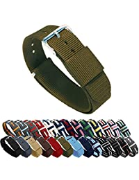 BARTON Watch Bands - Choice of Color, Length & Width (18mm, 20mm, 22mm or 24mm) - Army Green 20mm Width