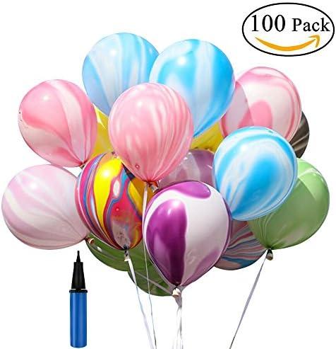 Milioあんしん極厚風船、10インチカラフルな雲風船、瑪瑙の誕生日ラテックスバルーン結婚式の雲の吹き出しトキラキラ光沢 誕生日 結婚式 飾り 装飾 空気入れ 100個の雲風船+ 1個の手動ポンプ