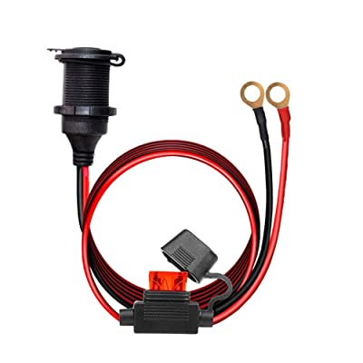 12V/24V Fixed Thread Cigarette Lighter Socket Extension Cable with Perforated Terminal, Direct Battery Type, car Cigarette Lighter Adapter. 14AWG 20A Heavy Duty Cable 10FT(Send Two Insurance Tablets): Car Electronics