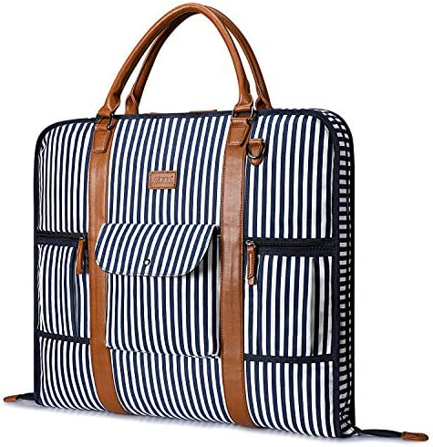 Carry On Garment Bag for Business Travel S-ZONE Canvas Leather Men Women Suit Cover