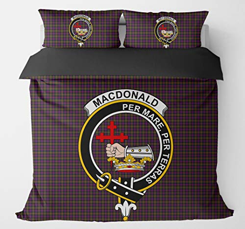 (Scottish Tartan MacDonald Clan Crest Badge Duvet Cover Bedding Sets with 2 Pillowcases For Adults King Queen Full Twin California King Sizes )