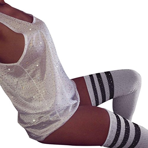 L&ZZ Women Fashion Sexy Rhinestone Striped Over Knee High Stockings Socks One Size -