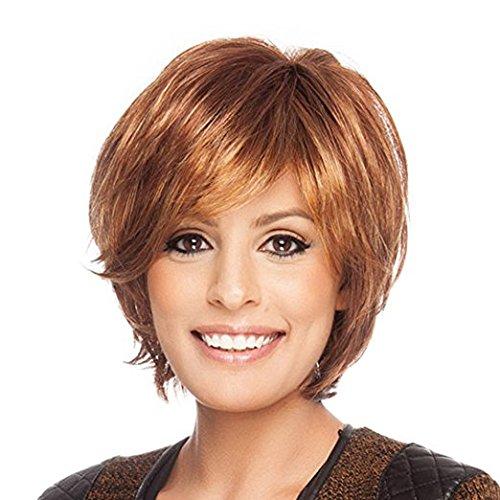 - BLONDE UNICORN Natural Human Hair Wigs for Women Auburn Short Style Hair Wig