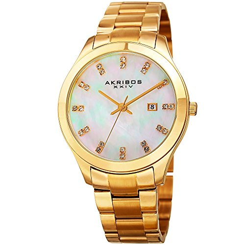 (Akribos XXIV Women's Gold-Tone Case with Genuine Swarovski Crystals and White Mother-of-Pearl Dial on Gold-Tone Stainless Steel Bracelet Watch AK954YG)