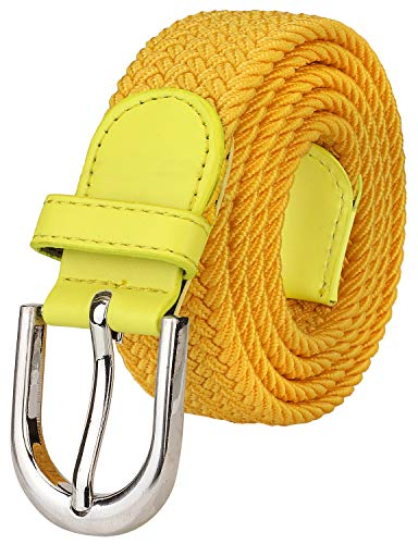 Falari Men Women Canvas Elastic Fabric Woven Stretch Braided Belt - - Belt Gold Woven Buckle