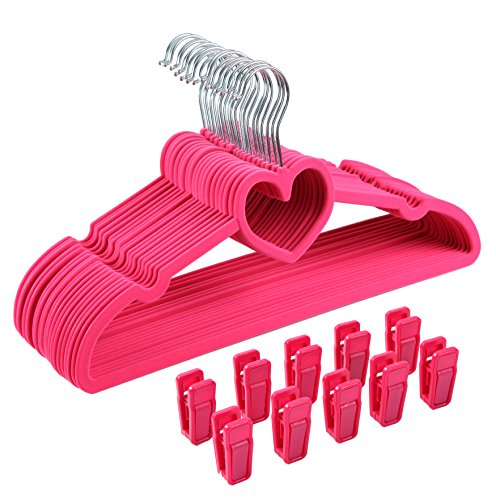 Finnhomy LOVE Heavy Duty 30 Pack Clothes Hangers with 10 Sturdy Multiple Use Finger Clips, Durable Slim-Line Velvet Hangers,Heart Shaped, Pink (Shaped Finger)