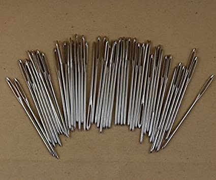 10 50 Nickel Plated Plaiting Needles Large eye and Blunt ended 25