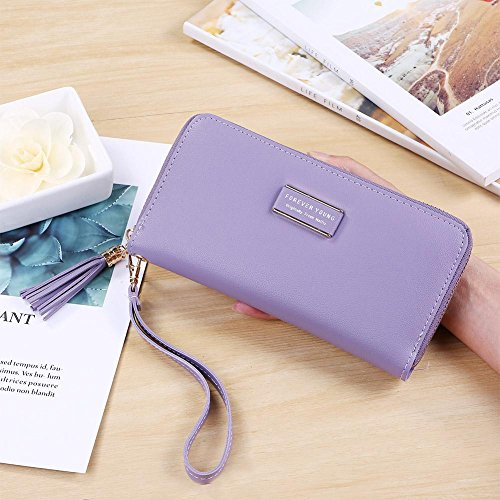 Holder Clutch Women Tassel Purse Coin Lichi Leather Domybest PU Long Wristlet Purple Zipper dUw0qxX