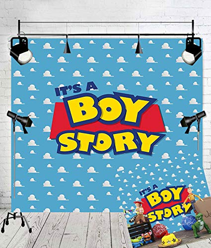 Art Studio It's a Boy Story Backdrop Birthday Party Theme Photo Background Blue Sky White Clouds Photography Backdrops Baby Shower Kids Hero Photo Booth Studio Props Vinyl 6x6ft