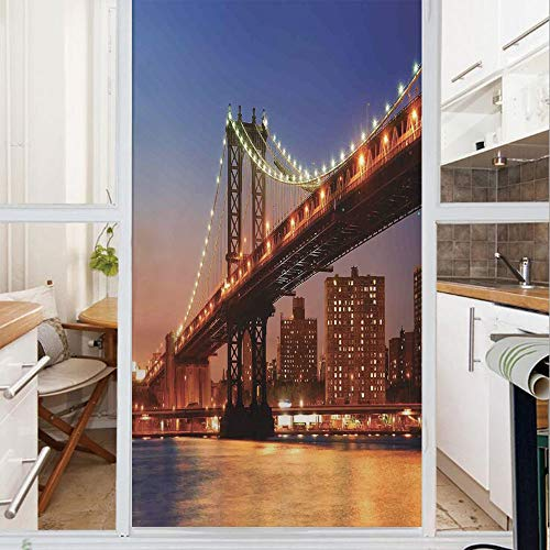 Decorative Window Film,No Glue Frosted Privacy Film,Stained Glass Door Film,Manhattan Bridge with Night Lights over Hudson River Brooklyn Popular Town Image,for Home & Office,23.6In. by 59In Blue Oran