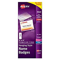 Avery Top-Loading Hanging Name Badges, 3\