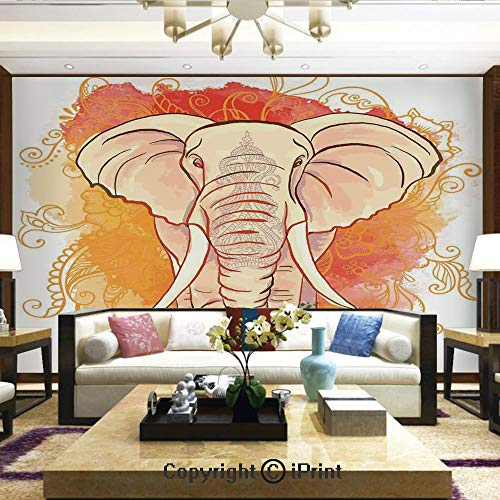 Lionpapa_mural Artistic Background Removable Wall Mural Self-Adhesive,Eastern Elephant Watercolor Style Print with Ethnic Pattern Vintage Style Design Decorative,Home Decor - 66x96 inches