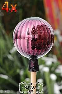 4unidades aprox. 18cm Grande Jardín bola en 18–20cm (tamaño (con espiga) bola de captador de forma púrpura gartenkugeln, sol, colector de sol Cristal, sol atrapasueños Discos, Jardín Decoración heladas, luz y Invierno fijo, Bola Rose Rose bolas cristal Deko Ölbaum
