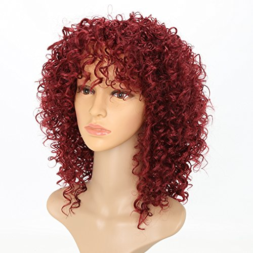 - Afro Curly Wigs Wine Red Hair for Women's Fashion Hair Extensions Afro Curly Wig Kinky Curly Hairstyle Look Same with Human Hair Wigs 14 inch