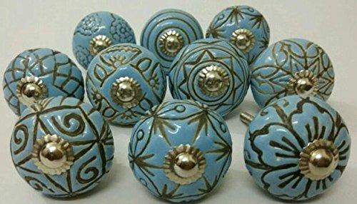 (Vintage Look 10 Ceramic Knobs Zoya's Hand Carved Ceramic Knobs Handmade Ceramic Door Knobs Kitchen Cabinet Drawer Pulls Kid's Badroom Knobs by Zoya's (Sky Blue))