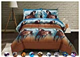 3 Piece Set Soft 3D Print Animals Pattern Comforter Set,Horse Running Under The Blue Sky and White Clouds (Queen, Running Horse)