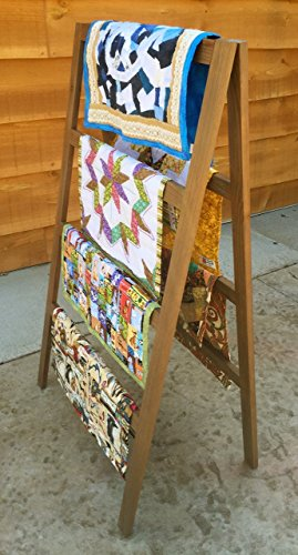 OFTO Handmade Quilt Rack - 4-Tier Quilt Ladder Holds 7 Blankets or Afghans for Vender Displays - Great for Pillows, Shams and a Comforter Folds Flat for Storage, Non-Toxic Finish. Craft Show booths. by Ozarks Fehr Trade Originals, LLC