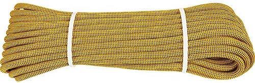 クライミングロープ、10mm 屋外安全耐久性のあるロープ屋外火災静的な屋内ロープエスケープレスキューパラシュートロープ,Yellow,20m