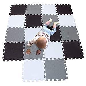 MQIAOHAM tapis de sol puzzle tapis mousse bebe jeu enfant aire de jeux pour puzzle multicolores enfants baby mat à ramper activite épais puzzle mat baby à ramper blanc noir gris 101104112 3