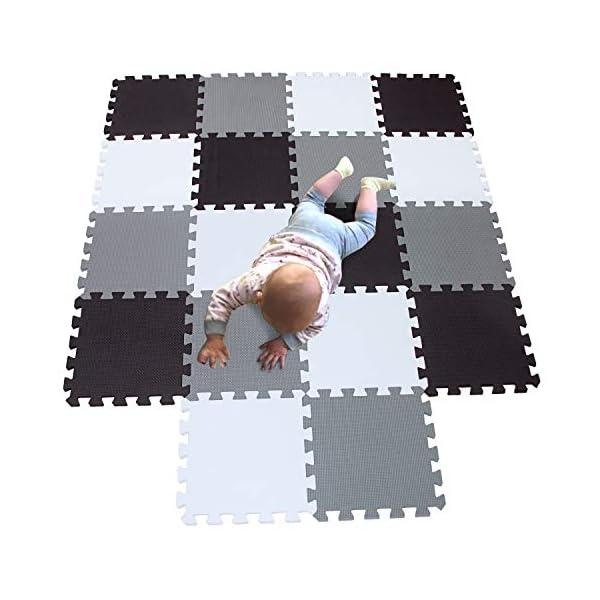 MQIAOHAM tapis de sol puzzle tapis mousse bebe jeu enfant aire de jeux pour puzzle multicolores enfants baby mat à ramper activite épais puzzle mat baby à ramper blanc noir gris 101104112 1