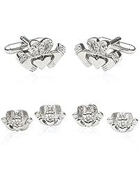 Irish Claddagh Silver Cufflinks & Studs