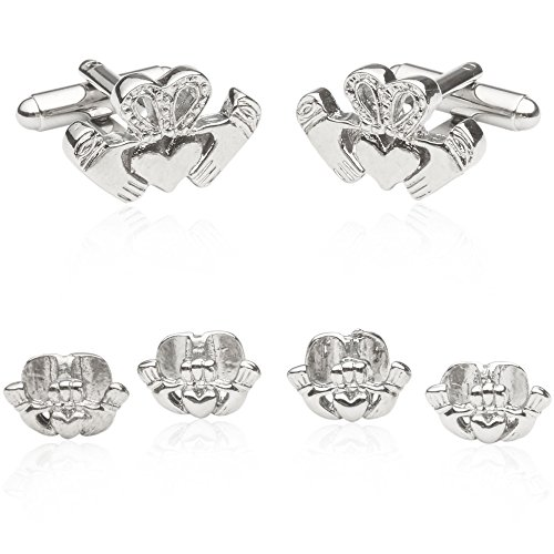 Irish Claddagh Silver Cufflinks and Studs by Cuff-Daddy Heart Love occasions