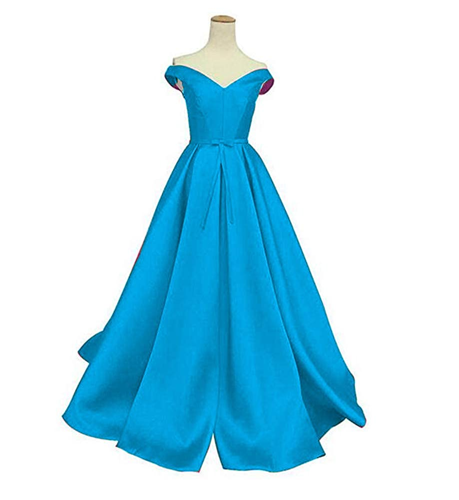 bluee Emmani Women's V Neck A Line Butterfly Knot Formal Long Evening Dress Lace Up Elegant Ball Gown