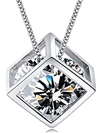 Women's 18K White Gold Plated Love Heart Necklace Jewelry...