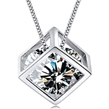 Shally Women's 18K White Gold Plated Love Heart Necklace Jewelry for Women Special Gifts for Her, Wife, Aunt, Grandma, Mom